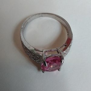 Pink Ruby sterling ring size 4